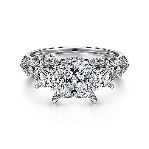 Vintage Inspired 18K White Gold Princess Cut Three Stone Diamond Engagement Ring