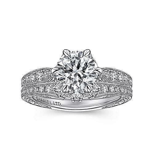 Vintage Inspired 18K White Gold Round Diamond Engagement Ring