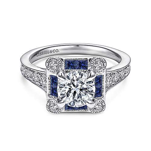 Vintage Inspired 18K White Gold Round Halo Sapphire and Halo Diamond Engagement Ring