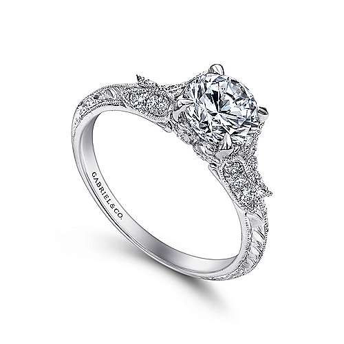 Vintage Inspired 18K White Gold Round Split Shank Diamond Engagement Ring