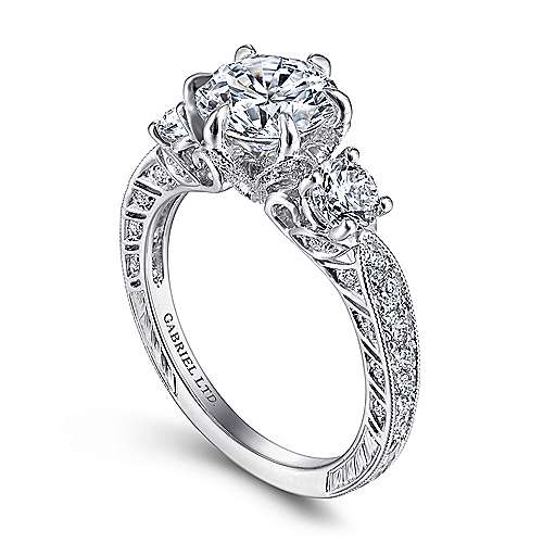 Vintage Inspired 18K White Gold Round Three Stone Diamond Engagement Ring