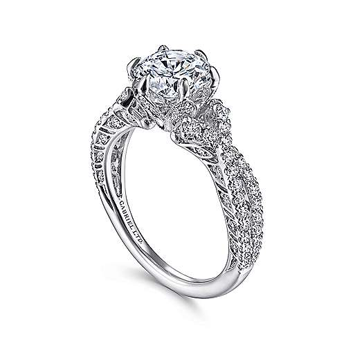 Vintage Inspired 18K White Gold Twisted Round Diamond Engagement Ring