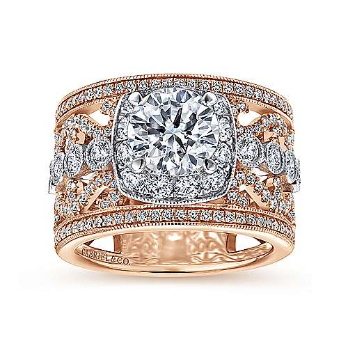 Vintage Inspired 18K White-Rose Gold Round Halo Diamond Engagement Ring
