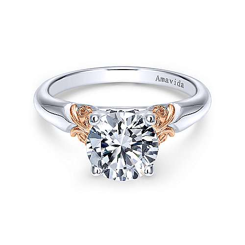 Vintage Inspired 18K White-Rose Gold Round Solitaire Engagement Ring