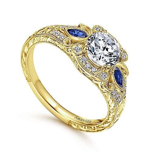 Vintage Inspired 18K Yellow Gold Fancy Three Stone Halo Round Sapphire and Diamond Engagement Ring
