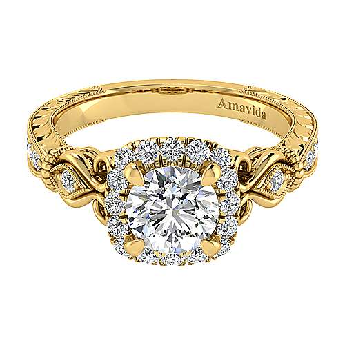 Vintage Inspired 18K Yellow Gold Round Halo Diamond Engagement Ring