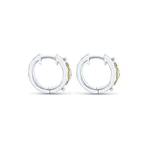 Vintage Inspired 925 Sterling Silver-18K Yellow Gold 15mm Diamond Huggie Earrings