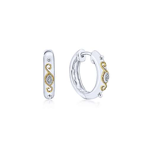 Vintage Inspired 925 Sterling Silver-18K Yellow Gold 15mm Diamond Huggies