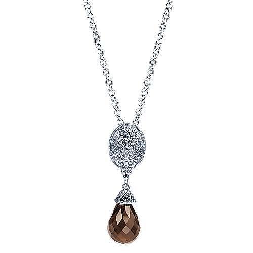 Vintage Inspired 925 Sterling Silver Necklace with Smoky Quartz Briolette