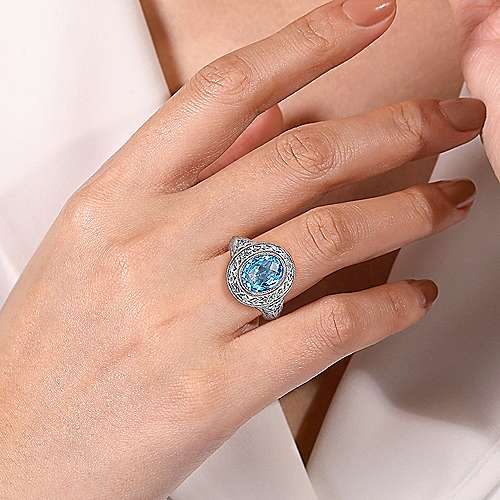 Vintage Inspired 925 Sterling Silver Oval Blue Topaz Ring