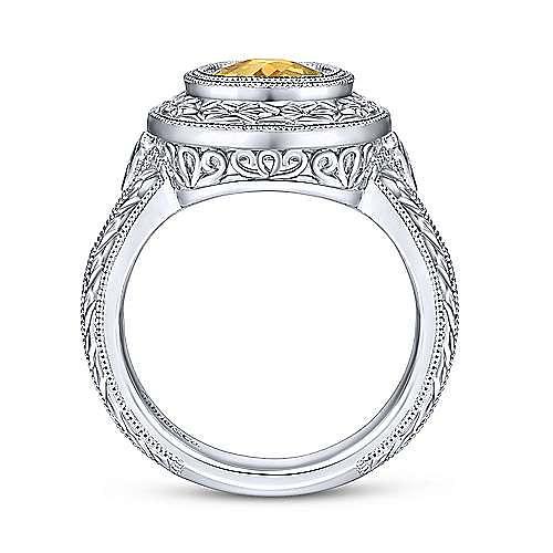 Vintage Inspired 925 Sterling Silver Oval Citrine Ring