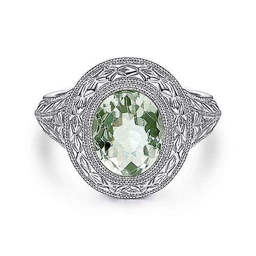 Vintage Inspired 925 Sterling Silver Oval Green Amethyst Ring