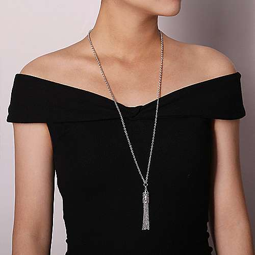 Vintage Inspired 925 Sterling Silver Tassel Necklace