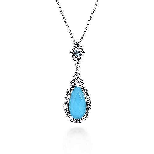 Vintage Inspired 925 Sterling Silver Teardrop Pendant  Necklace
