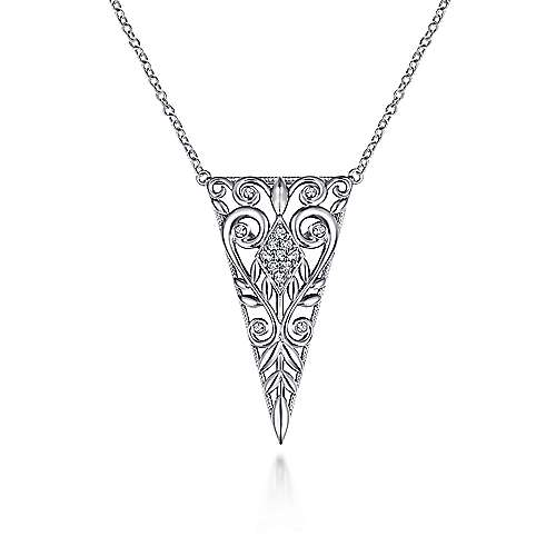 Vintage Inspired 925 Sterling Silver Triangular White Sapphire Pendant Necklace with Scrollwork
