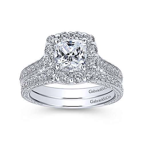 Vintage Inspired Platinum Cushion Halo Diamond Engagement Ring