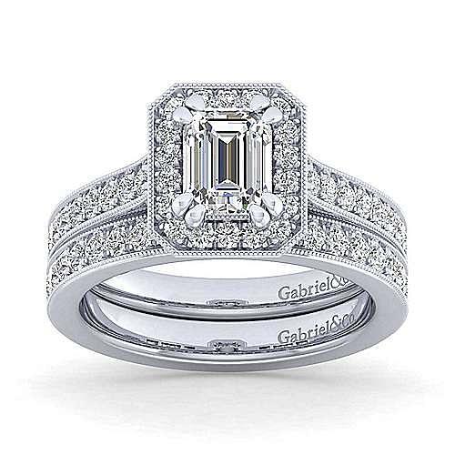 Vintage Inspired Platinum Emerald Halo Diamond Engagement Ring