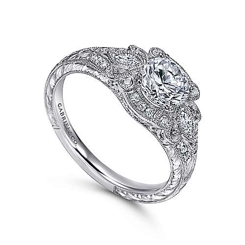 Vintage Inspired Platinum Fancy Three Stone Halo Round Diamond Engagement Ring