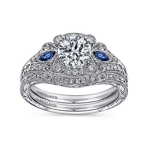 Vintage Inspired Platinum Fancy Three Stone Halo Round Sapphire and Diamond Engagement Ring