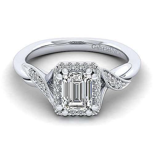 Vintage Inspired Platinum Halo Emerald Cut Diamond Engagement Ring