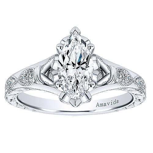 Vintage Inspired Platinum Marquise Shape Diamond Engagement Ring