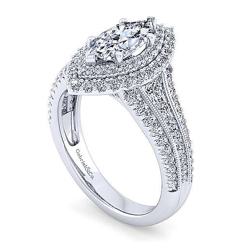 Vintage Inspired Platinum Marquise Shape Double Halo Diamond Engagement Ring