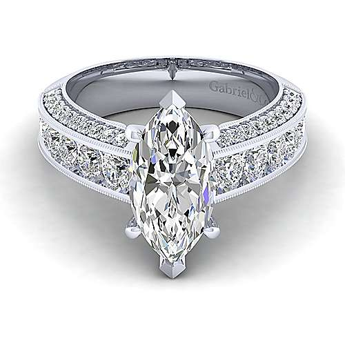 Vintage Inspired Platinum Marquise Shape Wide Band Diamond Engagement Ring