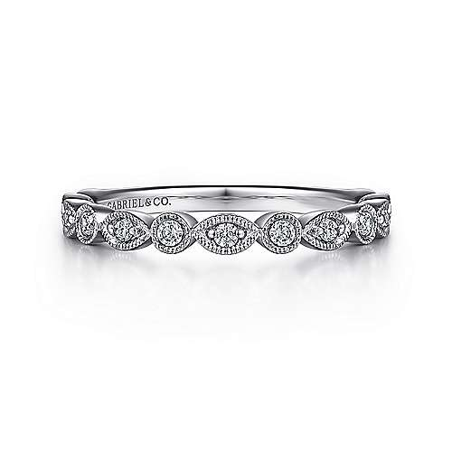 Vintage Inspired Platinum Marquise and Round Station Diamond Anniversary Band