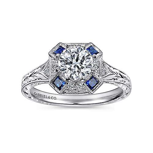 Vintage Inspired Platinum Octagonal Halo Round Sapphire and Diamond Engagement Ring