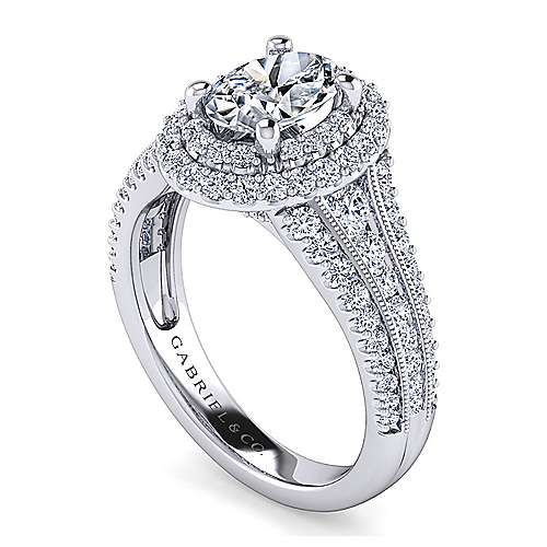 Vintage Inspired Platinum Oval Double Halo Diamond Engagement Ring