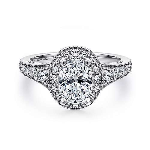 Vintage Inspired Platinum Oval Halo Diamond Engagement Ring