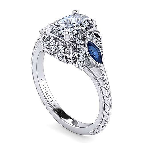 Vintage Inspired Platinum Oval Three Stone Halo Sapphire and Diamond Engagement Ring
