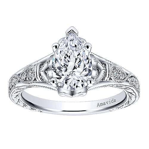 Vintage Inspired Platinum Pear Shape Diamond Engagement Ring
