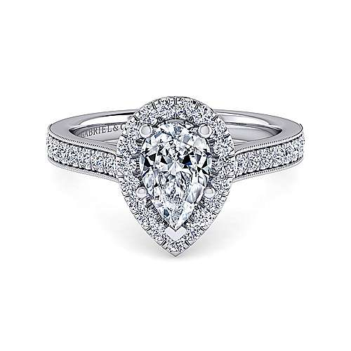 Vintage Inspired Platinum Pear Shape Halo Diamond Engagement Ring