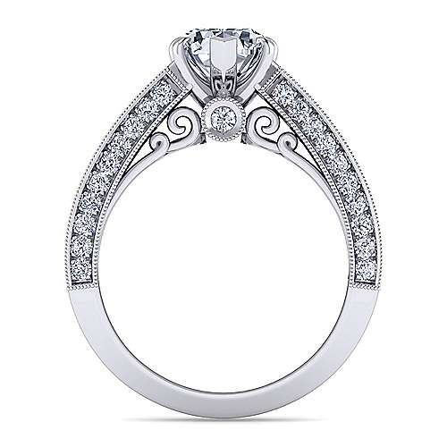 Vintage Inspired Platinum Pear Shape Wide Band Diamond Engagement Ring