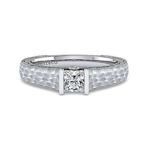 Vintage Inspired Platinum Princess Cut Diamond Engagement Ring