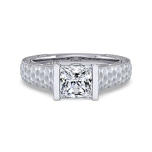 Vintage Inspired Platinum Princess Cut Diamond Engagement Ring
