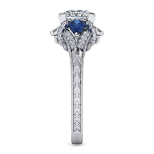 Vintage Inspired Platinum Princess Cut Three Stone Halo Sapphire and Diamond Engagement Ring