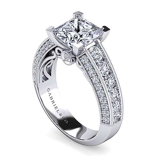 Vintage Inspired Platinum Princess Cut Wide Band Diamond Engagement Ring