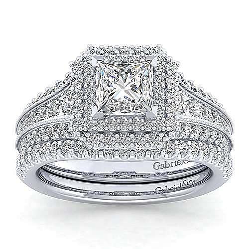 Vintage Inspired Platinum Princess Double Halo Diamond Engagement Ring
