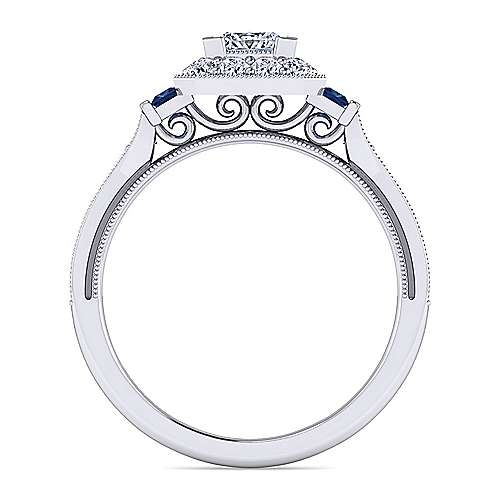 Vintage Inspired Platinum Princess Halo Sapphire and Diamond Engagement Ring