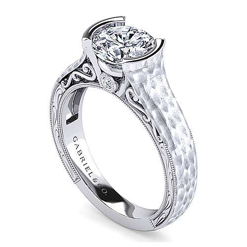 Vintage Inspired Platinum Round Diamond Engagement Ring