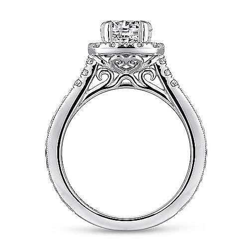 Vintage Inspired Platinum Round Halo Diamond Engagement Ring