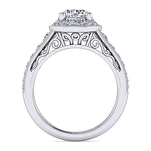Vintage Inspired Platinum Round Halo Diamond Engagement Ring