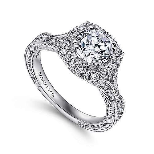 Vintage Inspired Platinum Round Halo Sapphire and Diamond Engagement Ring