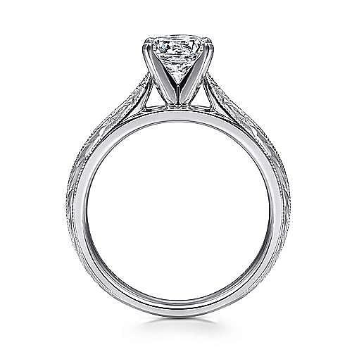 Vintage Inspired Platinum Round Solitaire Engagement Ring
