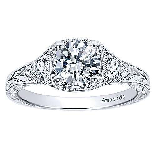 Vintage Inspired Platinum Round Three Stone Diamond Engagement Ring