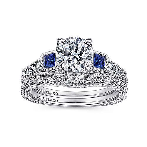 Vintage Inspired Platinum Round Three Stone Sapphire and Diamond Engagement Ring