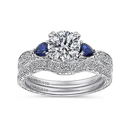 Vintage Inspired Platinum Round Three Stone Sapphire and Diamond Engagement Ring