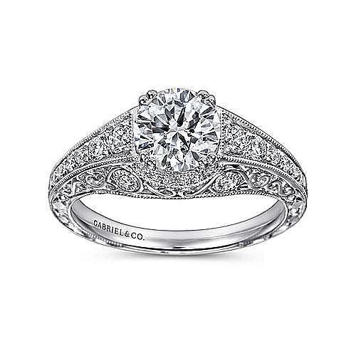 Vintage Inspired Platinum Round Wide Band Diamond Engagement Ring